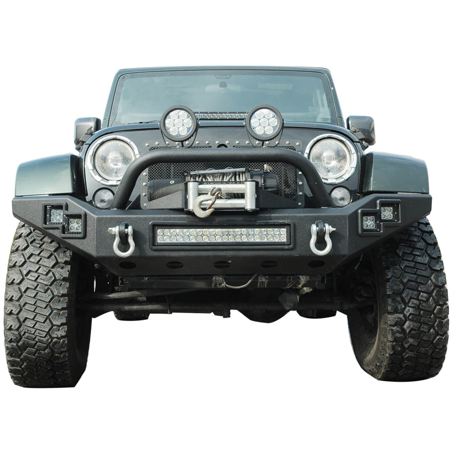 Buy JW0303 Steel Front Bumper With Winch Cradle & LED