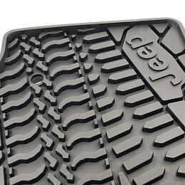 Image of a Jeep Wrangler Jeep Wrangler JK Floor Mats (Jeep Logo Design) for 4-Door Wrangler