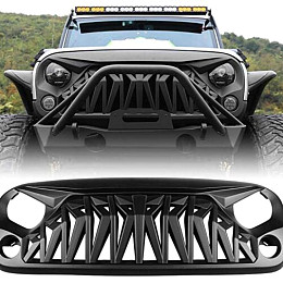 Image of a Jeep Wrangler ABS Armor Style High Flow Front Grill Grille matte black
