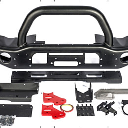 Image of a Jeep Wrangler AEV Style Front Bumper with Winch Cradle, Bullbar, Tow Rings 0148