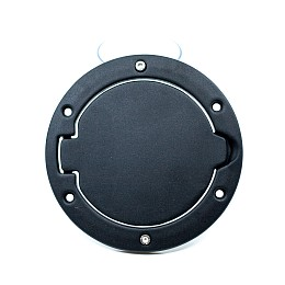 Image of a Jeep Wrangler Black Fuel Cap Door Cover Without Jeep Logo