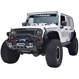 Image of a Jeep Wrangler JW0264 Style Stubby Steel Front Winch Bull Bar