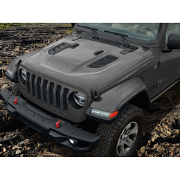 Image of a Jeep Wrangler Mopar Style Vented Steel Bonnet for Jeep Wrangler JL 2019 (0009 Bonnet)