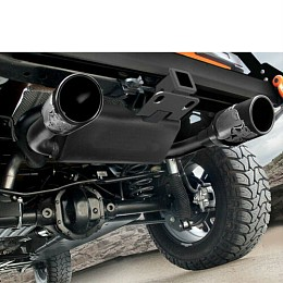 Image of a Jeep Wrangler Gibson Skull Exhaust Style Stainless Dual Exhaust Muffler System