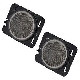 Image of a Jeep Wrangler Pair LED Side Fender Lights Black Turn Signal Lamp