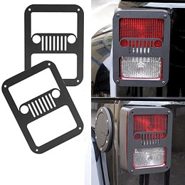 Image of a Jeep Wrangler Pair Jeep Grille Style Flat Tail Light Cover Light Guard J115