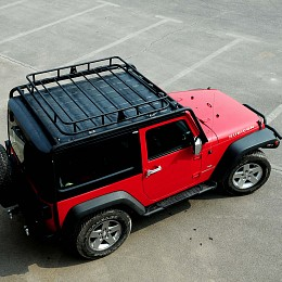 Image of a Jeep Wrangler 2 Door Jamboree Style Roof Rack Basket Body Mount