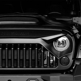 Image of a Jeep Wrangler Topfire Vader Style Angry Grille with Logo