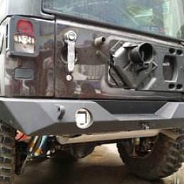 Image of a Jeep Wrangler JW0363 PS Style Full width Steel Rear Bull Bar