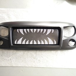 Image of a Jeep Wrangler Spartan Fang Style Angry Grille Matte black