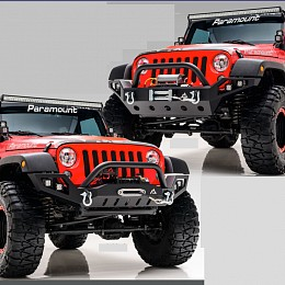 Image of a Jeep Wrangler Tactical Edge Heavy Duty Steel Bumper with LED Lights and U-Bar (JW0308)