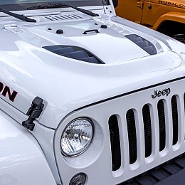 Image of a Jeep Wrangler 10th anniversary Style Steel Bonnet Front Hood