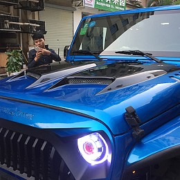 Image of a Jeep Wrangler Transformer Style steel Bonnet Front Hood Body Kit