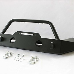 Image of a Jeep Wrangler JW0292 Style Steel Front Winch Bull Bar mid width