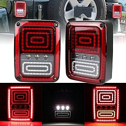 Image of a Jeep Wrangler Pair LED Tail Lights Rear Turning Break Light 0120