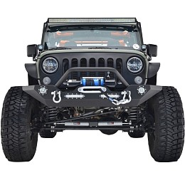 Image of a Jeep Wrangler JW0245 Style Steel Front Winch Bull Bar with LED lights