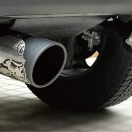 Image of a Jeep Wrangler  Skull Style Stainless Dual Exhaust Muffler System
