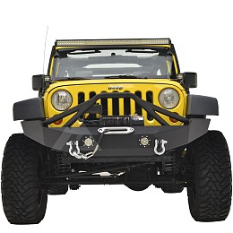 Image of a Jeep Wrangler JW0316 Poison Spyder Style Steel Front Bumper with Winch Cradle and D-Ring & LED Lights