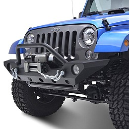 Image of a Jeep Wrangler  JW0265 Style Steel Front Winch Bull Bar