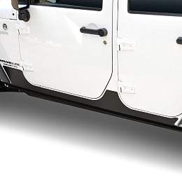 Image of a Jeep Wrangler Rocker Guards for 4-Door Jeep Wrangler JKU Black-Satin (Set)
