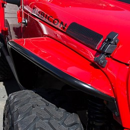 "Image of a Jeep Wrangler Poison Spyder Style 10.75"" Extra Wide Style Alloy Front Fender Flares Guard"