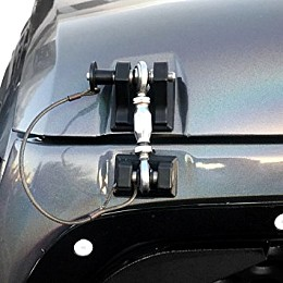 Image of a Jeep Wrangler Black Color Retro Style Bonnet lock Catch Kit