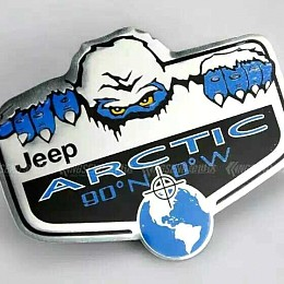 Image of a Jeep Wrangler 3D Arctic Lable Sticker Chrome