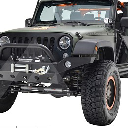 Image of a Jeep Wrangler Barricade Trailforce Style Steel Front Winch Bull Bar 0342