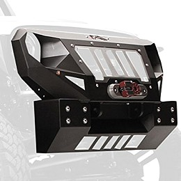 Image of a Jeep Wrangler Fab Fours Grumper Style Steel short width Front Bull Bar with Grill