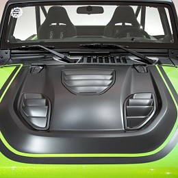 Image of a Jeep Wrangler Tailcat Style High Flow Steel Bonnet with Three Vents