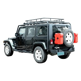 Image of a Jeep Wrangler 4 Door Jamboree Style Roof Rack Basket Body Mount