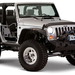Image of a Jeep Wrangler Bushwacker Flat Style Front&Rear Fender Flares Guard