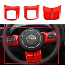 Image of a Jeep Wrangler 3 Pieces Red Steering wheel Cover Trim