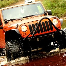 Image of a Jeep Wrangler JW0325 Poison Spyder Style Steel Front Winch Bull Bar