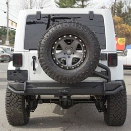 Image of a Jeep Wrangler  AEV Style Steel Rear Bumper Bar With Spare Wheel Carrier