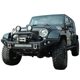 Image of a Jeep Wrangler JW0303 Steel Front Bumper with Winch Cradle & LED Light Bar & Fog Lights