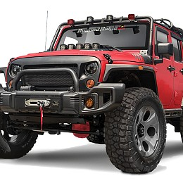 Image of a Jeep Wrangler Rugged Ridge Spartacus Style Style Steel Front Winch Bull Bar