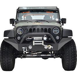 Image of a Jeep Wrangler Jeep Wrangler JK  Heavy Duty Premium  Style Bumper (Matte-Black, incl D-Shackles, Winch-compatible)