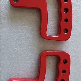 Image of a Jeep Wrangler Jeep JK Wrangler 07~17 Pair Red aluminum Front Grab Handle Grip Accessory