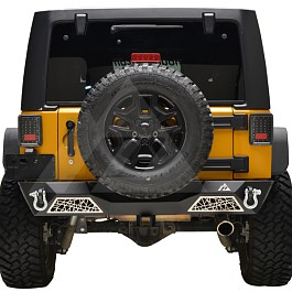 Image of a Jeep Wrangler web Style rear bumper bar