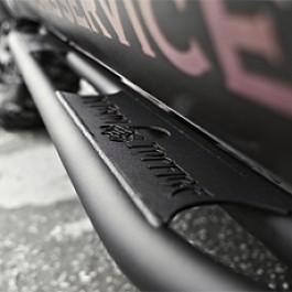 Image of a Jeep Wrangler Topfire Style Steel Rock Sliders Black-satin for 4-Door Jeep JKU (Set)