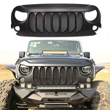 Image of a Jeep Wrangler Angry Grilles ABS High Flow Front Grill Grille matte black J264-3