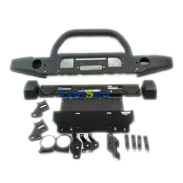 Image of a Jeep Wrangler Front Bumpers AEV Style Front Bumper with Winch Cradle, Bullbar, Tow Rings and Fog Light Inserts