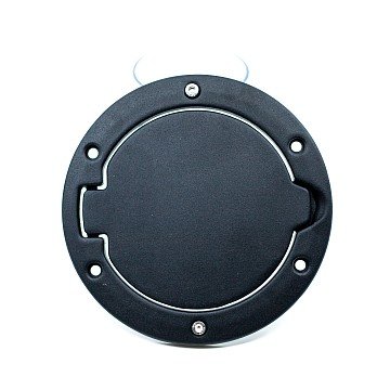Image of a Jeep Wrangler Accessories Black Fuel Cap Door Cover Without Jeep Logo