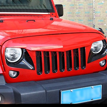 Image of a Jeep Wrangler Angry Grilles Eagle Style Angry Grille Matte Black Finish With Mesh