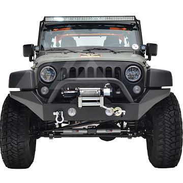 Image of a Jeep Wrangler Front Bumpers Jeep Wrangler JK  Heavy Duty Premium  Style Bumper (Matte-Black, incl D-Shackles, Winch-compatible)