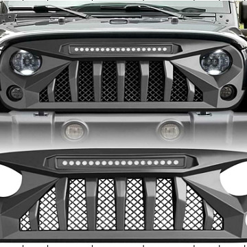 Image of a Jeep Wrangler Angry Grilles Jeep Wrangler JK Grill with Mesh and led light bar