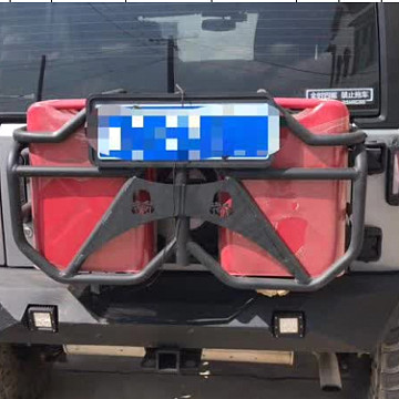 Image of a Jeep Wrangler Accessories Jeep Wrangler JK Jerry Can holder with 2 Jerry Cans