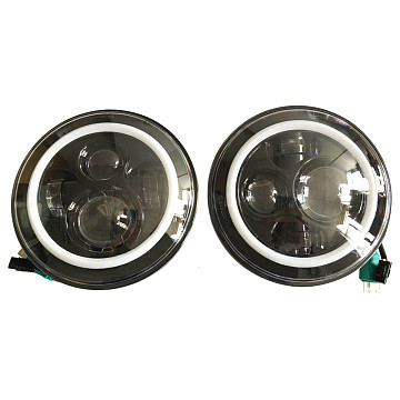 Image of a Jeep Wrangler Lights And Mirrors Jeep  Wrangler JK LED head lamp with LED ring (Pair)
