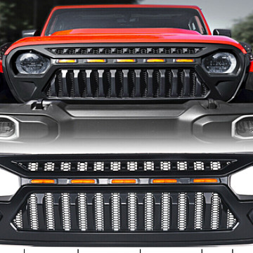 Image of a Jeep Wrangler Angry Grilles Jeep Wrangler JL  Angry Grille with 5 amber led lights 0005